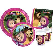 Kit festa 44 pezzi Masha e Orso coordinato compleanno per 8 bambini.