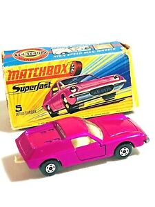 1969 vintage Matchbox Superfast # 5 Lotus Europa Pink WIDE Wheels MIB RARE