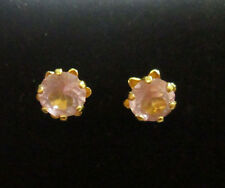 VINTAGE 14K YELLOW GOLD PINK GLASS STUD EARRINGS