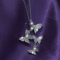 18k white gold gp made with swarovski crystal butterfly pendant chain necklace
