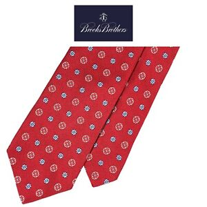 Brooks Brothers Makers & Mechants Red Tie-Blue White Floral Pattern100% Silk NWT
