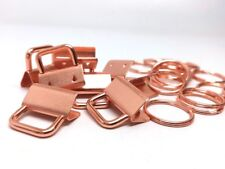 10 sets. Rose Gold Plated Key Fobs and Key Rings - 25mm (1 inch) - Purse Handbag