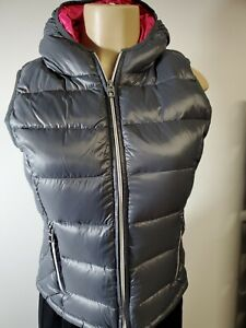 Saks fifth Avenue Woman 90% Down Gray~smoke/rose Quilted Puffer Hooded Vest S