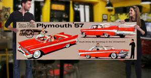 1957 Plymouth Dealer Garage Banner V8 Coupe Belvedere Sedan Convertible