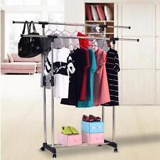 Garderobenständer Kleiderständer Wäscheständer 2 Stangen Mit Rollen Verstellbar~