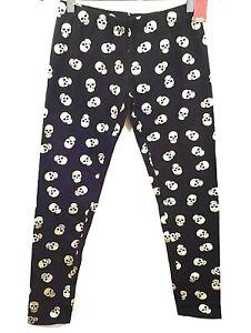 Halloween Skull Leggings Junior Size Small 3-5 Black Gold Ankle Stretch Seamless