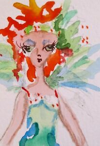 Aceo Fairy miniature watercolor painting art Delilah