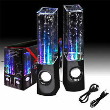 Black Stereo Music LED Water Dancing Fountain Light Speakers for iPhone iPad PC