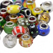 50 Mixed Glass Murano Lampwork Charm Beads Fits European Bracelet Wholesale