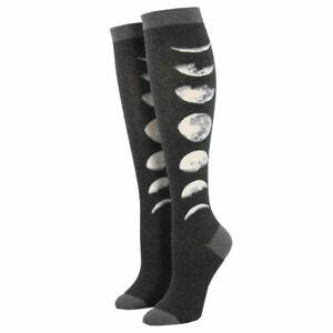 Socksmith Women's Knee High Socks Just A Phase Moon Lunar Cycle Novelty Footwear