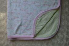 Gerber Organic Baby Blanket Pink White Green Bunny Rabbit Floral Flower Tree