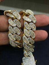 11.41 TCW Round Princess Cut Diamonds Men's Cuban Link Bracelet In 585 14K Gold