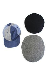 Brooks Brothers Mens Wool Flat Baseball Caps Grey Black Blue Size M L Lot 3