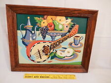 MID CENTURY MODERN PAINT BY NUMBER STILL LIFE COMPLETED & FRAMED EXPERTLY DONE a