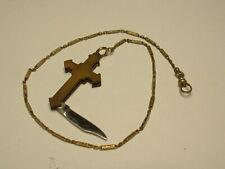 VINTAGE GOLD FILLED WATCH CHAIN W/ HANDMADE CROSS W/KNIFE FOB AMAZING PIECE!