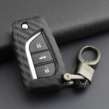 Soft Carbon Fiber Key Fob Chain Cover Case For Toyota Camry C-HR 2018-2020