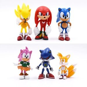 6Pcs/Set Sonic The Hedgehog Figures Sonic Shadow Tails Characters Toy Figure