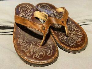 Women's Olukai Paniolo Leather Beach Sandals Sz 9
