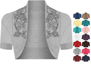 Ladies Women's Cotton Sequin Beaded Cap Short Sleeve Shrug Bolero Cardigan Top
