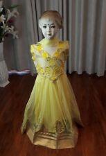 "28"" Age 6 - 7 Salwar Kameez Bollywood Indian Girls Dress Yellow Gold Anarkali K4"