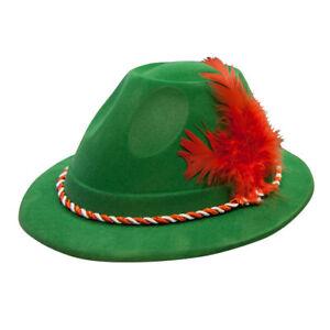 10 X Adulte Unisexe Vert Bavaroise Oktoberfest Hat avec Rouge Plume Déguisement
