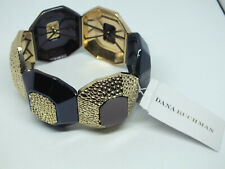 Beautiful Stretch Bracelet Gold Tone Blue Copper Brown Org Label Dana Buchman