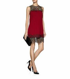 Christopher Kane Red Crepe Wool Silk Mesh Crackle Mini Dress AU 10 US 8 EU 38 M