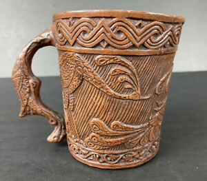 Peacock Mug Faux Wood Carving Made in Greece Clay Pottery (for decor)
