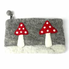 Handmade Wool Felt Mushroom Clutch Global Groove Fair Trade Bohemian Wanderlust