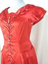 40s Vtg Dramatic Sweetheart Red Formal Peplum Gown Dress Elaborate Sequins M/L