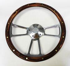 "Jeep Wrangler YJ CJ Cherokee Wagoneer Mahogany rivets Billet Steering Wheel 14"""