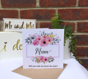 PERSONALISED Will you walk down the aisle pink peony flower frame wedding card