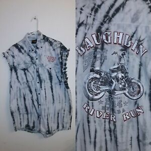 MOTORCYCLE SHIRT BIKER WEAR RIVER  RUN LAUGHLIN 2014 NEVADA SHIRT 2XL 48 x 34