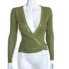 Kier + J 100% Cashmere Green Sequin Neckline Faux Wrap Deep V Sweater Sz XS 9139