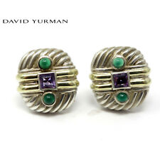 NYJEWEL David Yurman 14K Yellow Gold 925 Silver Amethyst Emerald Clip On Earring
