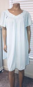 Vintage Miss Elaine Classics Light Blue Nylon Nightgown XL - EUC
