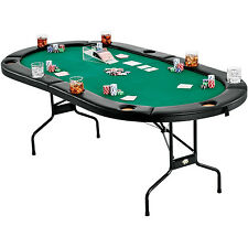 Texas Holdem Poker Table Foldable Portable Folding Legs 10 Player Blackjack Game