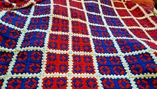 Huge Red White and Blue Granny Square Afghan Calif King Size Homemade Bedspread