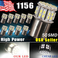 10x White 1156 50 SMD LED RV Camper Tail Brake Stop Backup Reverse Light Bulbs