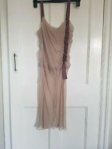 100% silk designer dress, Alberta Ferretti, Sheer fabric in pale mauve. Size 8.
