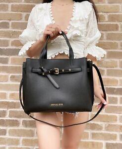 Michael Kors Emilia Large Satchel Crossbody Black Pebbled Leather