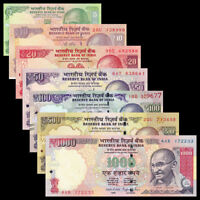 INDIA 7 PCS BANKNOTES SET (5+10+20+50+100+500+1000 RUPEES), RANDOM YEAR, UNC