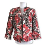 Kasper Women's Size 12 Large Open Front Blazer Jacket Red Gray Black Lined