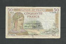 France # 85B VG 1940 Small Tear at Bottom 50 Franc Note