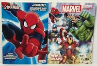 2 AVENGERS & Spiderman Jumbo Coloring & Activity Books Children Boys Marvel