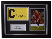 Daniel Agger SIGNED FRAMED Captains Armband Autograph Photo Display Liverpool
