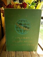 1945 COLLIER'S WORLD ATLAS AND GAZETTEER BOOK COLOR MAPS,STATS,PHOTOS, 336 PAGES