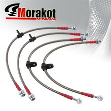 Honda Accord 98-02 Stainless Steel Front & Rear Oil Brake Line Cable Silver/Red