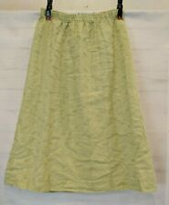 CP Shades Size L Embroidered Green Irish Linen Midi Pull On Skirt