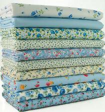 10 X Fat Quarters - Blue Shabby Chic Florals Polycotton Fabric Remnants